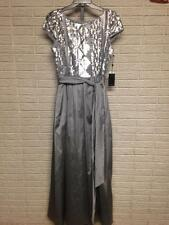 NEW Adrianna Papell misses FORMAL SILVER SEQUINS gown dress 14 XL NWT $249 #A825