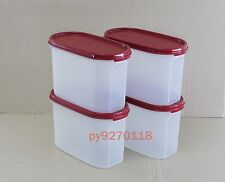 Tupperware Modular Mates Oval II with Cranberry Seal (4 pcs) + Free Shipping