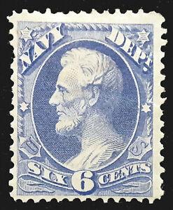 US Official Stamp 1873 6c Navy Lincoln Scott # O38 MINT OG H