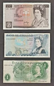 BANK OF ENGLAND PAGE 1975 £10 1973 £5 & 1970 £1 BANKNOTES - TEN FIVE ONE POUNDS
