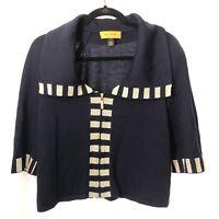St John Santana Knit Sweater Jacket Zip Yellow Label Navy Blue White Stripe Sz S