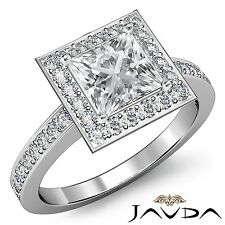 Princess Diamond Engagement Halo Pave Set Ring GIA I SI1 18k White Gold 1.88ct