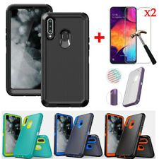 For Samsung Galaxy A20s A20 Armor Hybrid Shockproof Case Cover+Screen Protector