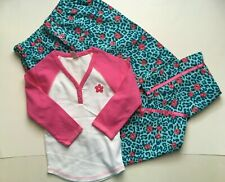 NWT Limited Too 2 Pc Outfit White Pink PJ Top 7 & Pink Rose Pajama Pants 6 7 Set
