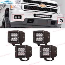 4x Cube Flood Beam LED Fog Light Pod For 07-13 Chevy Silverado 1500 2500 3500