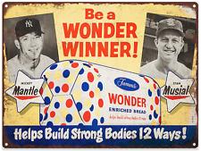 1950s Mickey Mantle Wonder Bread Advertising Metal Repro Sign 9x12 60086