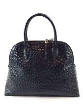 Innue Italian Black Leather Croc Women's Elegant Tote Shopper Handbag