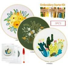 3pcs Embroidery Beginners Cross Stitch Kits Printed Flower Pattern Craft Set DIY