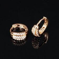 PENDIENTES AROS 14mm Ø Blanco Zirconia SERIE 750 oro amarillo 18K Bañado en oro