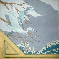 MZC Vintage Crane Birds & Waves HP Hand Painted Needlepoint Canvas