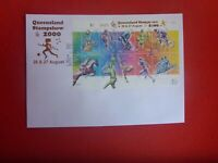 QLD STAMP SHOW 2000 OVERPRINTED OLYMPIC SPORTS SHEETLET &  POSTMARK LARGE COVER