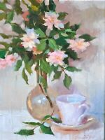 Oil painting original still life Roses  12x16 signed contemporary impressionism