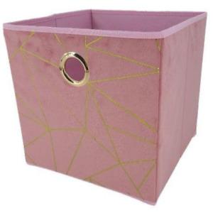 FabFinds Velvet Blush Canvas Storage Cube Utility Box Foldable Pink Square 30cm