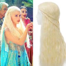 Game of Throne Daenery Curly Wig Golden Targaryen Khaleesi Braid Costume Cosplay