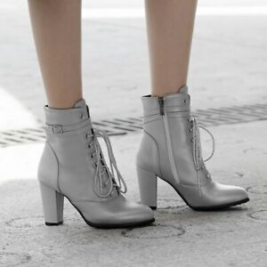 British Womens Trend Round Toe Ankle Boots Block High Heel Lace Up Elegant Shoe