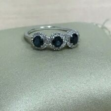 14k white gold trilogy halo genuine round cut blue sapphire & H/Si diamond ring