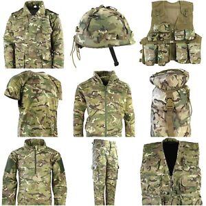 Kids Army T Shirt Trousers Vest Helmet Cap Coat Bag Boys Fancy Dress MTP Camo UK