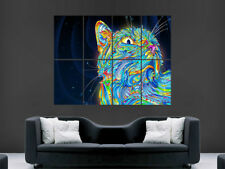 Trippy chat poster psychédélique Animal énorme IMAGE GIANT PRINT Abtract