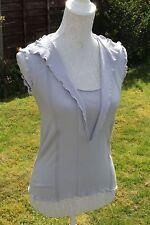 Size 46 UK 14 EMPORIO ARMANI Grey Top Stretch Sleeveless (154)