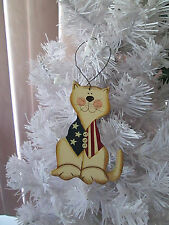 "4"" Americana Patriotic Wood Catl Ornament, 4th of July, New"