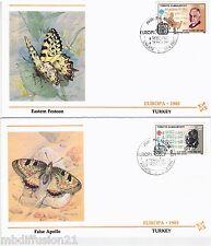 1985-Deux Fdc-Turquie-Timbre Europa Cept-musique.Papillon-Yv.2462/3