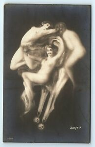 """POSTCARD - metamorphic fantasy """"Satyr"""" male face, naked nude women erotic risque"""