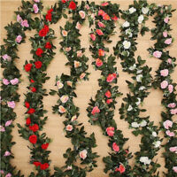 Artificial Rose Garland Silk Florals Fake Vine Ivy Wedding Party String Hang H