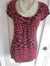 Ladies size 10 Per Una M&S black and cerise pink log top short sleeves
