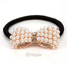 Fashion Cute Sweet Pearl Bowknot Bow Elastic Hair Band Ponytail Holder 261127