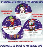 Personalised Chocolate LABEL ONLY fits HEROES Tub Christmas Elf, Santa, Snowman
