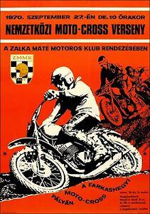 Motocross 1970 Budapest Hungary Vintage Poster Print Motorcycle Racing Art