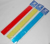 Flexible Bendy Rul 12in 30cm Ruler in Red Green or Blue Colours Fun Novelty Kids