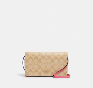 COACH OUTLET-Anna Foldover Crossbody Clutch In Signature Canvas -KH/PINK-RRP$425