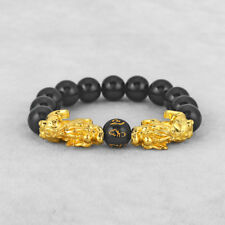 Gold Plated Double Chinese Dragon Pixiu Brave Troops Lucky Protection Bracelet