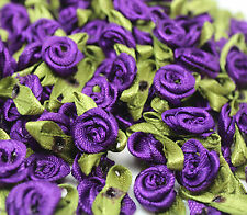 50PCS Satin Ribbon Rose Flower DIY Craft Wedding Appliques 12mm DIY purple