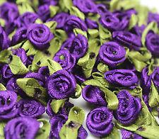 50/100PCS Satin Ribbon Rose Flower DIY Craft Wedding Appliques 12mm DIY