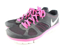 Nike Flex Hot Pink Vented Womens Running Shoe Size 7.5 Black Lace Up Silver