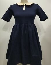 Zara Basic Navy Blue Collar Short Sleeve Skater/shift Dress Size Large
