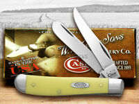 Case xx Mini Trapper Knife Smooth Yellow Delrin Handle CV Pocket Knives 00029