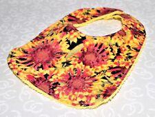 Handmade Watercolor Sunflower Baby Bib 100% cotton Terry Cloth Backing