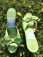 Vintage 70s Pappagallo Bow Tie Fabric Mules Pin Up Sandals Size 7