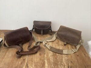 3 LEATHER CARTRIDGE BAGS ( 2x MUSTO ) ALL AS ACQUIRED SEE PICS