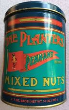 Planters Peanuts Tin 14 Oz Pennant Repro Early 2000's Trinket Sewing Pencil Box