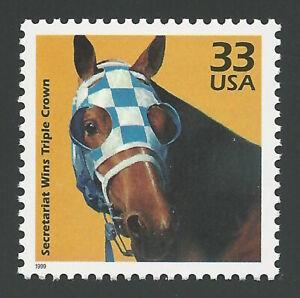 SECRETARIAT Triple Crown Winner 1973 Kentucky Derby Horse Racing US Stamp MINT !