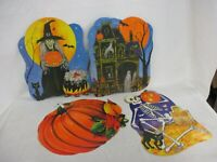 Vintage Skeleton Black Cat Pumpkin Halloween Witch Die Cut Printed In USA (JBC