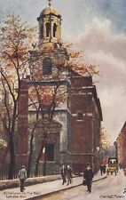TUCK : OLD LONDON CHURCHES- All Hallows on the Wall -FLOWER-Oilette 6259