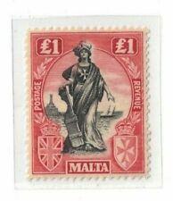 1922 Malta 1 Pound black/red SG 139 MLH