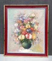 Original oil painting on canvas framed vintage still life vase of flowers signed