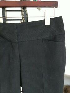 Women's Express Editor Dress Pants Black White Wide Leg Pinstriped Size 4S