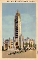 Tulsa Oklahoma 1940s Linen Postcard Boston Avenue Methodist Church